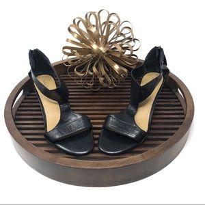 Nine West Black Leather T Strap Sandal